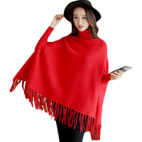 2018 Women Spring Autumn Knitted Sweater Poncho Coat Solid Elegant Pullover Jumper Irregular Tassel Hem Cape