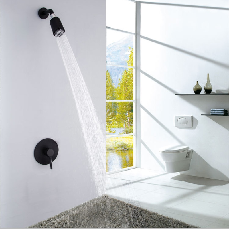 Fixed Rain Shower Mixer Taps Set Ceramic Black Wall Mount Shower Faucet Head Brass Bathroom Shower Set Thermostatic dofaso quality black and chorme mixer thermostatic shower faucet bathroom wall mount simple thermostatic shower mixer set