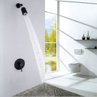 Fixed Rain Shower Mixer Taps Set Ceramic Black Wall Mount Shower Faucet Head Brass Bathroom Shower Set Thermostatic