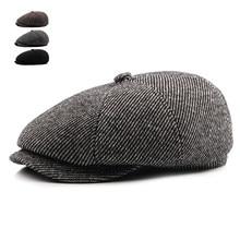 d5283a0c378 Tweed Gatsby Autumn Winter Newsboy Cap Men Wool Ivy Hat Golf Driving Cabbie  Flat Unisex Berets Hat Peaky Blinders Hats