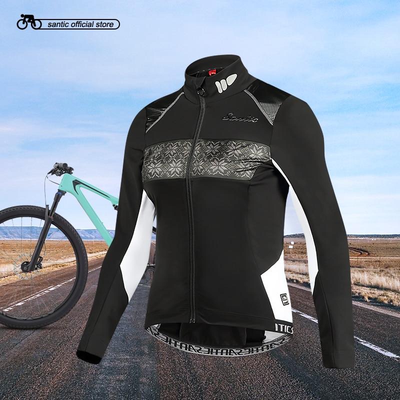 Santic femmes extérieur cyclisme vestes Pro Fit SANTIC chaud + tissu cyclisme polaire vestes manteaux thermiques vestes garder au chaud L7C01081