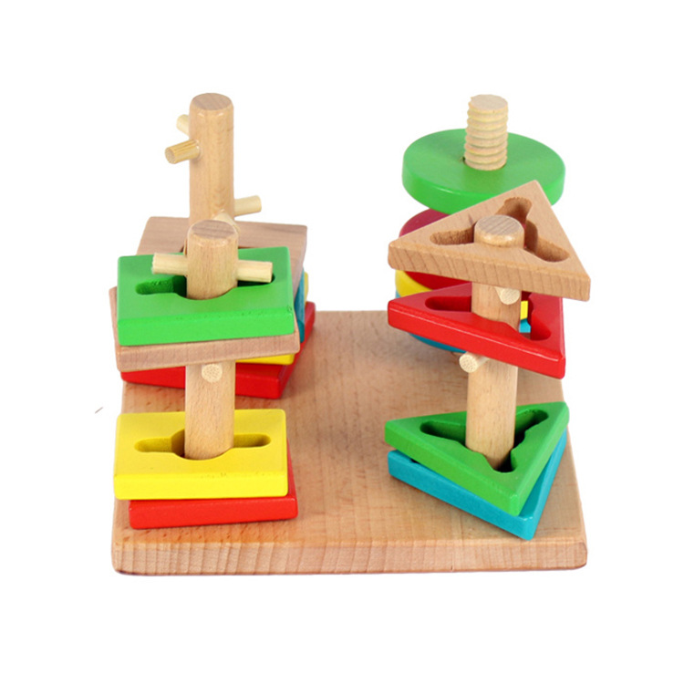 baby boy girl toy Children s wooden toys boutique four - column color shape recognition suite building blocks educational toys