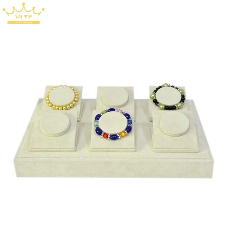 Jewelry Display Tray For Bracelet&Bangle Holder Stand Bangle Display Beige Velvet Displays Organize Cases