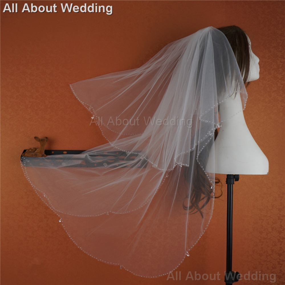 Clear Drop Tulle Bridal Veil Wedding Hair Accessory Bridal Cover 2017 New Style Real Photo