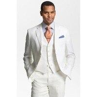 Custom Made ivory Linen Suits Mens Formal Skinny Summer Beach Simple Wedding Tuxedo 3 Piece Men Suit (Jacket+Pants+Vest)