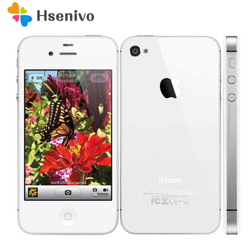 iPhone4S Original Factory Unlocked Apple iPhone 4S IOS Dual Core 8MP WIFI WCDMA Mobile Cell phone TouchScreen iCloud refurbished image