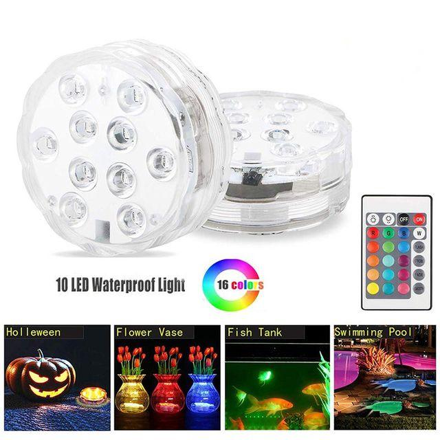 Nuevo acuario colorido LED luces de buceo sumergible pecera Decorat luz transparente impermeable bajo el agua lámpara de vela electrónica