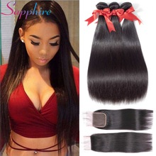 SAPPHIRE Straight Hair Bundles With Closure Brazilian Hair Weave Bundles With Closure Ikke-Remy Human Hair Bundles With Closure