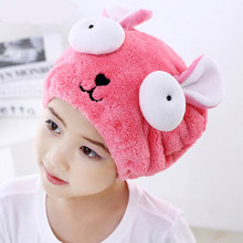 Cute Bath Towel Hair Dry Hat Shower Cap Strong Absorbing Drying Long - Velvet Ultra -Soft Children 's Special Dry Hair Cap Towel(China)