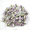 2016 fashion ceramic round flower bead catholic rosary necklace