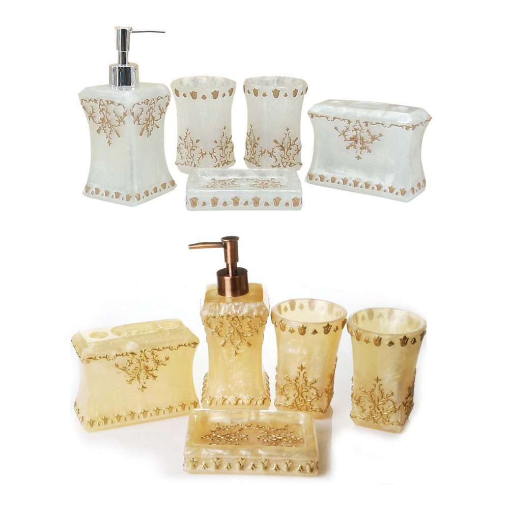 Free Shipping Classic Pearl Floral 5PCS Resin Bathroom Accessories ...