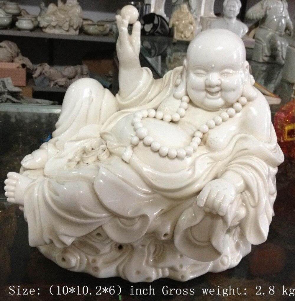 Chinese dehua white porcelain laughing Buddha, miro Buddha statue