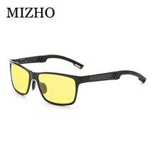 MIZHO High Quality Sunglasses Men 2019 Anti-glare Colored Night Vision Polarized Sunglasses For Women Square Yellow Vintage