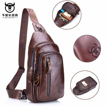 BULLCAPTAIN 100 Vintage Genuine Leather Crossbody Bags Men Chest Bag Pack Casual Shoulder Messenger Bag for Short Trip Sling Bag bullcaptain 019 genuine leather bag men chest pack travel brand design sling bag business shoulder crossbody bags for men