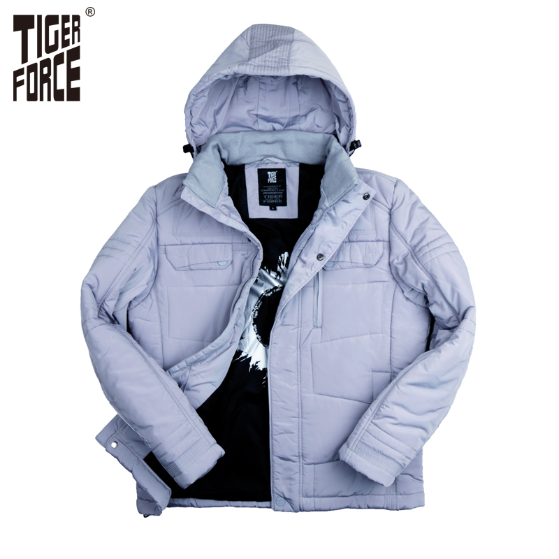 ФОТО TIGER FORCE 2016 New Collection Men Parkas Fashion Cotton Jacket Casual Padded Coat Nylon Solid Zipper Free Shipping 7718