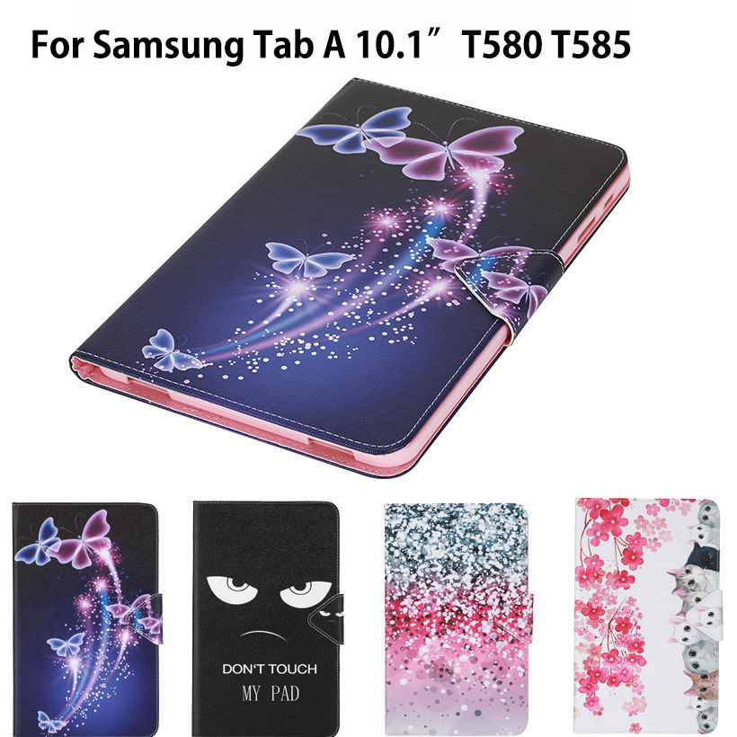 SM-T585 Fashion Cat Print Case Cover For Samsung Galaxy Tab A A6 10.1 2016 T580 T585 SM-T580 Case Funda Tablet PU Leather Shell fashion pu leather flip case for samsung galaxy tab a a6 10 1 2016 t580 t585 sm t580 smart case cover funda tablet sleep wake up