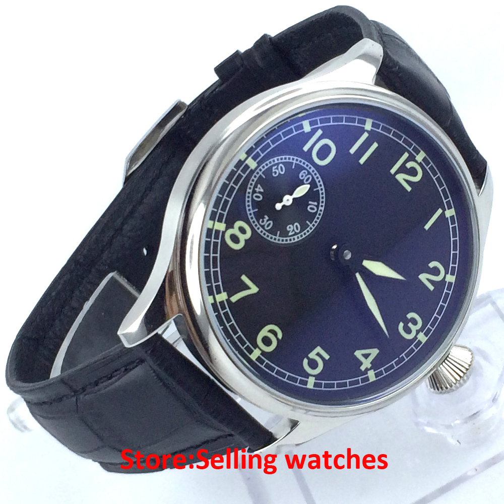 classic 44mm parnis black dial big crown seagull hand winding 6497 mens watch