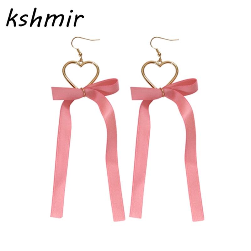 kshmir 새로운 여름 달콤한 심장 귀걸이 레이스 tassels 귀고리 여성 액세서리 생일 선물