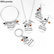 Talk Less Smile More Aaron Burr Alexander Hamilton the Musical Inspired Lyrics Hand Stamped Necklace Charm Crystal Beads