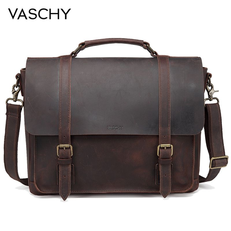 VASCHY Full Genuine Leather Briefcase For Men Vintage Cowhide Leather Messenger Bag For 15.6 Inch Laptop  Satchel Bag Bookbag