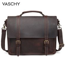купить VASCHY Full Genuine Leather Briefcase for Men Vintage Cowhide Leather Messenger Bag for 15.6 inch Laptop  Satchel Bag Bookbag по цене 8703.17 рублей