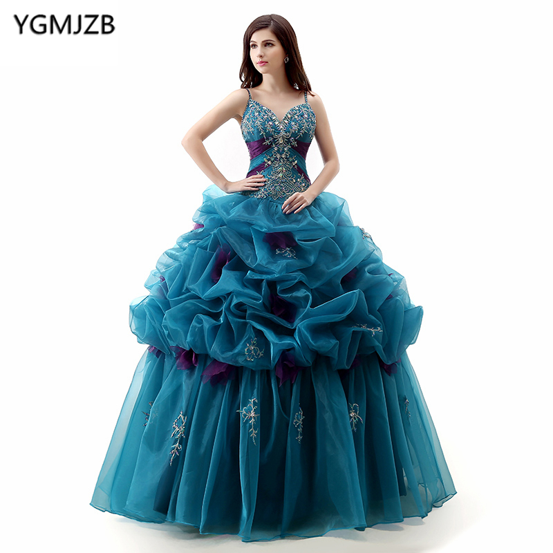 Blue Quinceanera Dresses 2018 Ball Gown V Neck Sparkly Beaded Crystal Floor Length Vestidos De 15 Long Prom Gown For Girl
