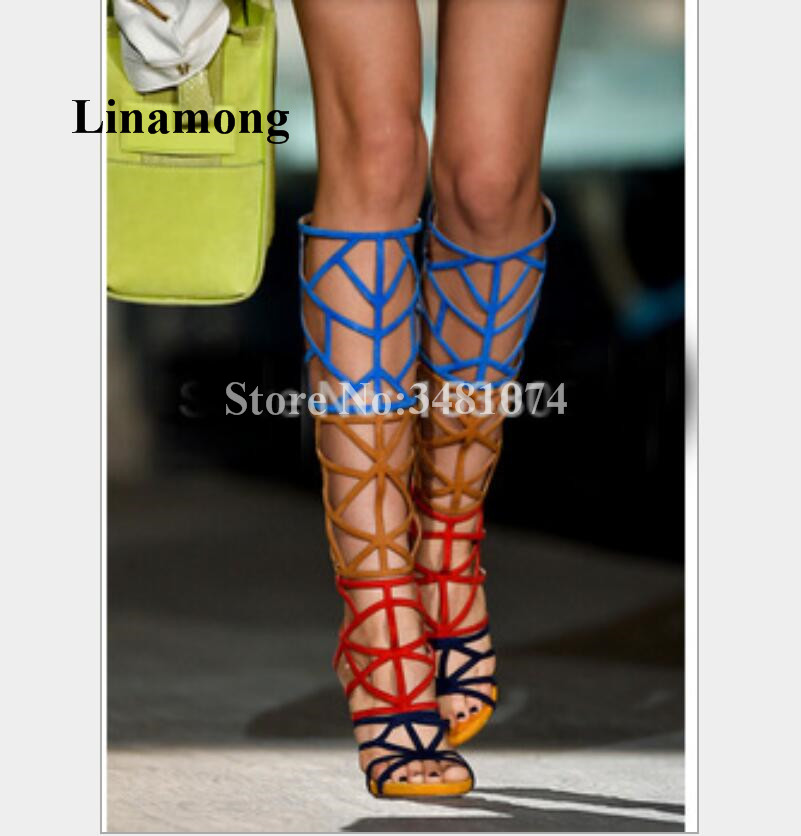 Summer Fashion Newest Colorblock Fretwork Cross-tied Thin High Heel Sexy Women Long Tube Boots Sandals Two Style Sandals 2018 summer fashion fretwork long tube thin high heel sexy women boots solid fashion sexy sandals two color women boots sandals