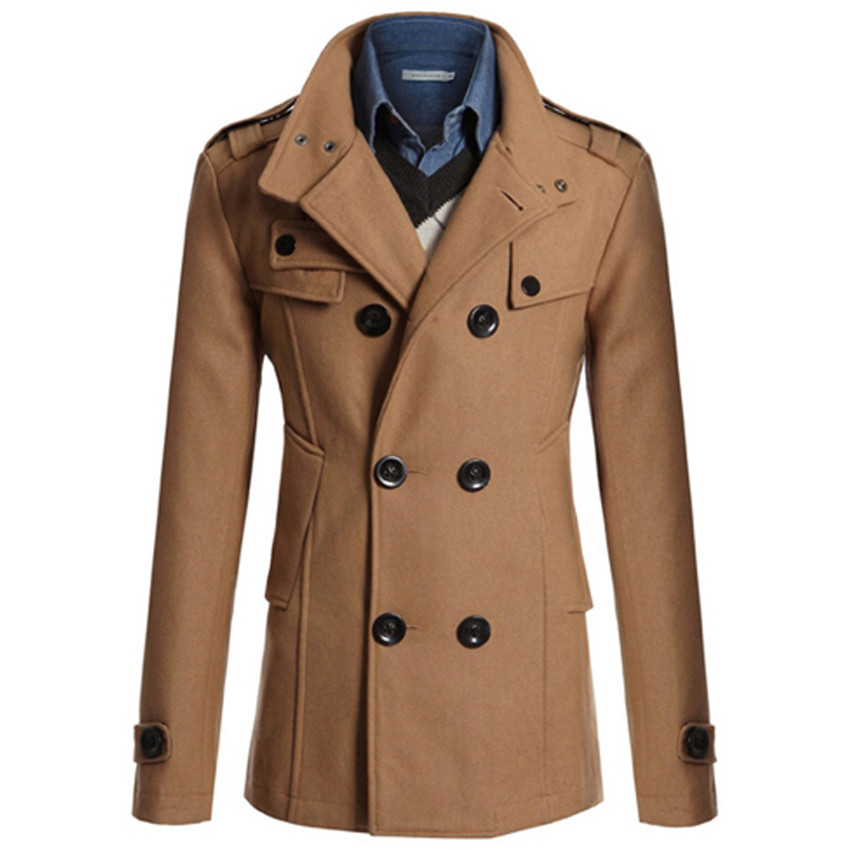 40f18969827 Men Casual Double Breasted Male Trench Coat Military Style Pea Coat Men s  Windbreakers Trench Homme-in Wool   Blends from Men s Clothing on  Aliexpress.com ...