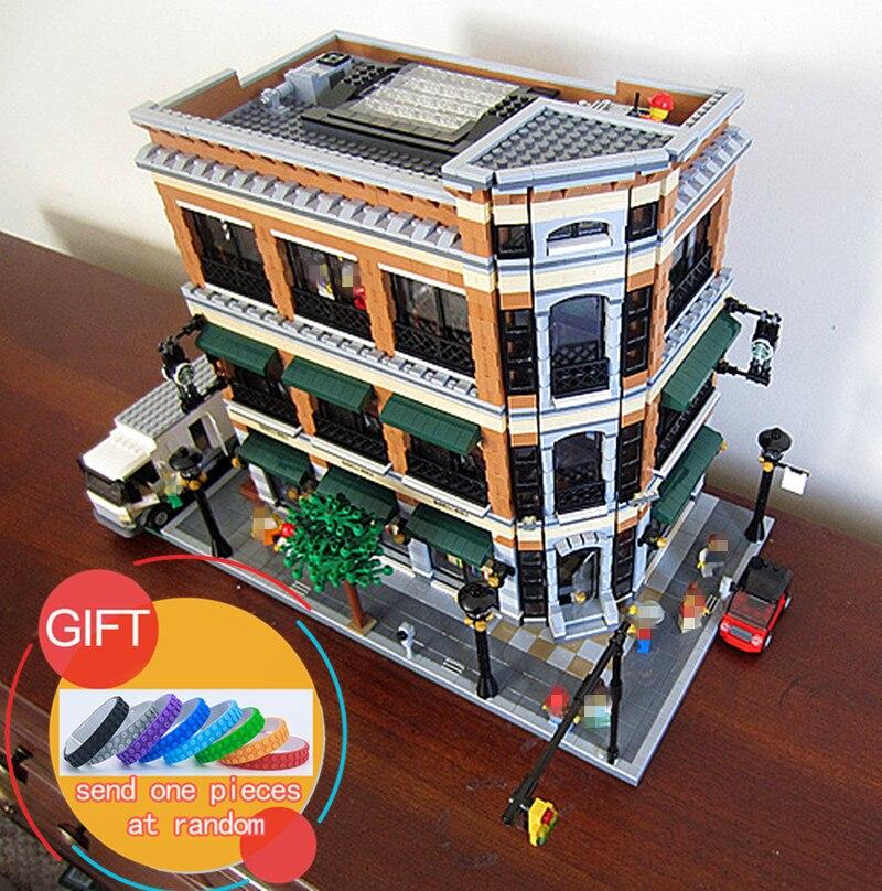 15017 4616Pcs улицы города Старбакс, Книжный магазин, кафе, строительный набор комплект модели блок кирпич, совместимый с 10232
