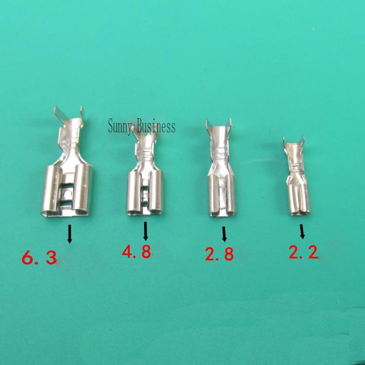 50PCs 6.3mm 4.8mm 2.8mm 2.2mm Crimp Terminal Female Spade Connector