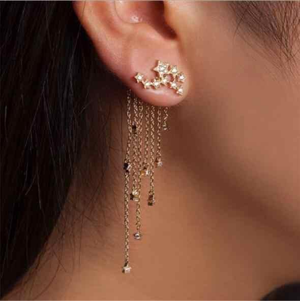 ผู้หญิง 2019 สีทองคริสตัลยาวพู่ต่างหูแฟชั่น Star คล่องตัวหญิงเจ้าสาวเครื่องประดับงานแต่งงานต่างหู