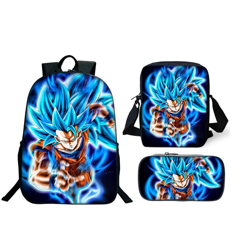2019 Hot Sale 3Pcs Set Backpack Anime Dragon Ball Z Super School Bags For Students Best Gifts Children Son Goku School Bags