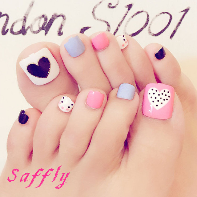 24pcs new summer Pink blue white toenails foot High quality Fresh ...