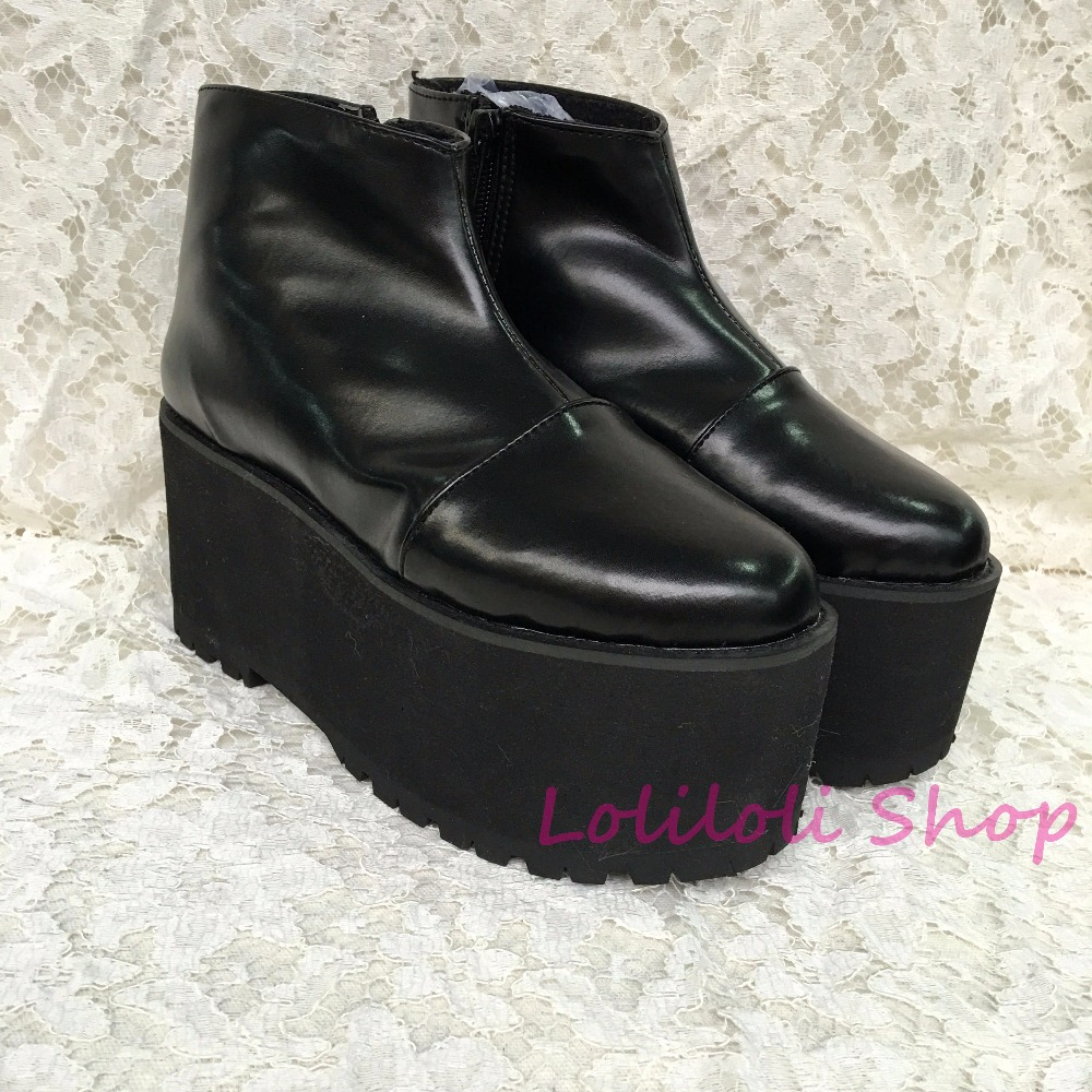 Punk shoes Big shoes special custom shoes an*tai*na*Thick Black Ankle Boots bottom zipper shoes custom 1382-4 light Muffin punk shoes big shoes special custom shoes black and white thick bottom tie bright leather heels platform customized 1304 2