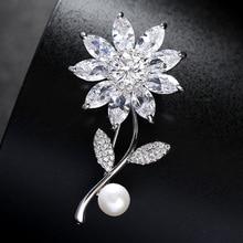 Rhinestone Flower Brooch Silver Crystal Bouquet Pearl Brooches Pins Wedding Bridal Sunflower Broche Dress Sash Pin for Women недорого