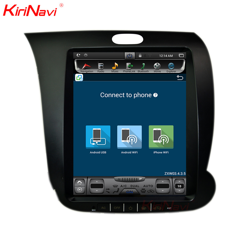 KiriNavi вертикальный Экран Тесла Стиль 10,4 дюймов 2 Din Автомагнитолы DVD для Kia K3 gps навигации Android 7,1 с Wi Fi Bluetooth