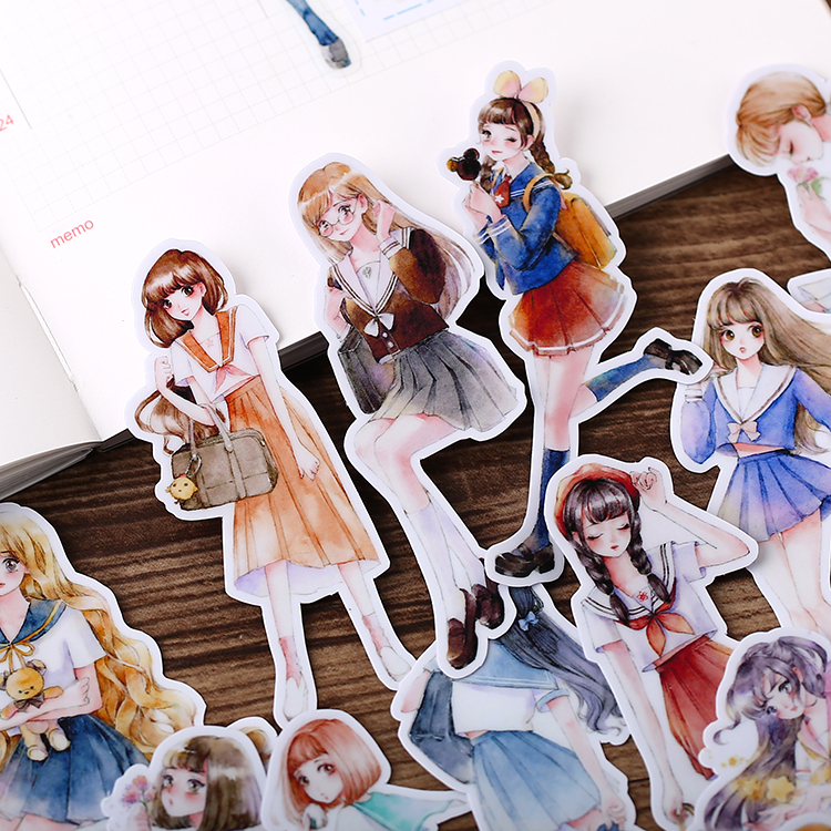 19pcs Cute Art Girls Waterproof For Phone Car Label Decorative Stationery Stickers Scrapbooking DIY Diary Album Toy Sticker
