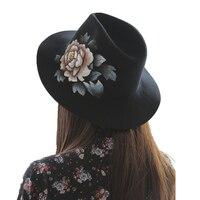 New luxury Lana Tesa Larga Floppy Feltro Trilby Dipinto A Mano fiore Cappello di Fedora Per Le Donne Eleganti Signore Autunno Inverno Chiesa cappello