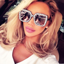 Shining Diamond Sunglasses Women Brand Design Flash Square Shades Female Mirror