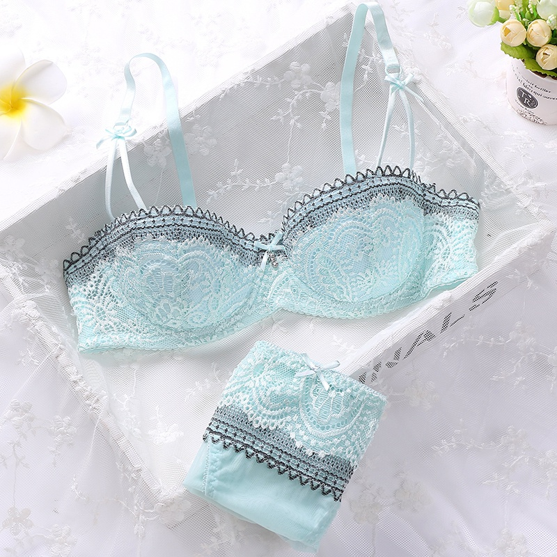 Women Girls Summer Sweet Lace Embroidery Half Cup Bowknot Sexy Push Up Underwear And Panty Bra Set