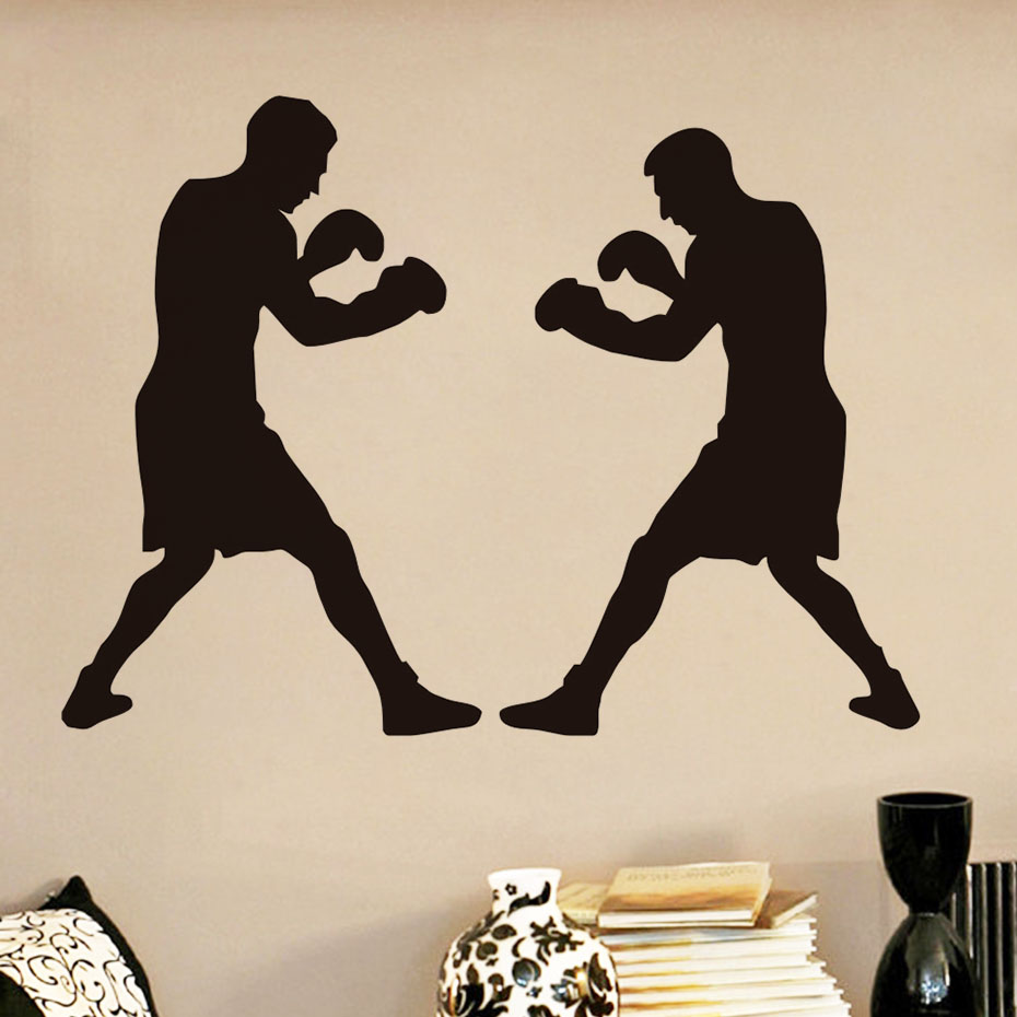 DCTOP Factory Price Boxing Boxer Fight Sports Wall Sticker Living Room Removable Vinyl Sports Wall Art Mural Home Decor Stickers