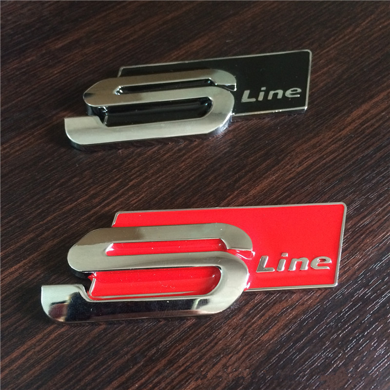 1Pc Metal Alloy Sline S line 3D Car Side Fender Rear Trunk Badge Emblem Sticker for Audi S3 S4 S5 S6 S8 A1 A3 A4 A5 A6 A7 TT RS4