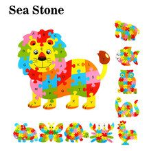 Alphabet 26 Letters 3D Wooden Puzzles Toys Kids Animal lion elephant Cock Crab Butterfly Jigsaw educational toys gift
