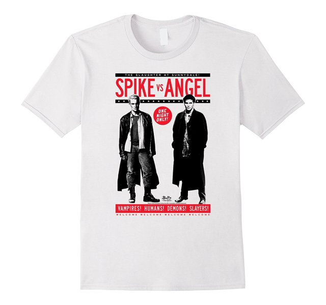 Buffy the Vampire Slayer pico vs Ángel caliente 2017 verano Cool Fashion impreso Hipster Tops camiseta