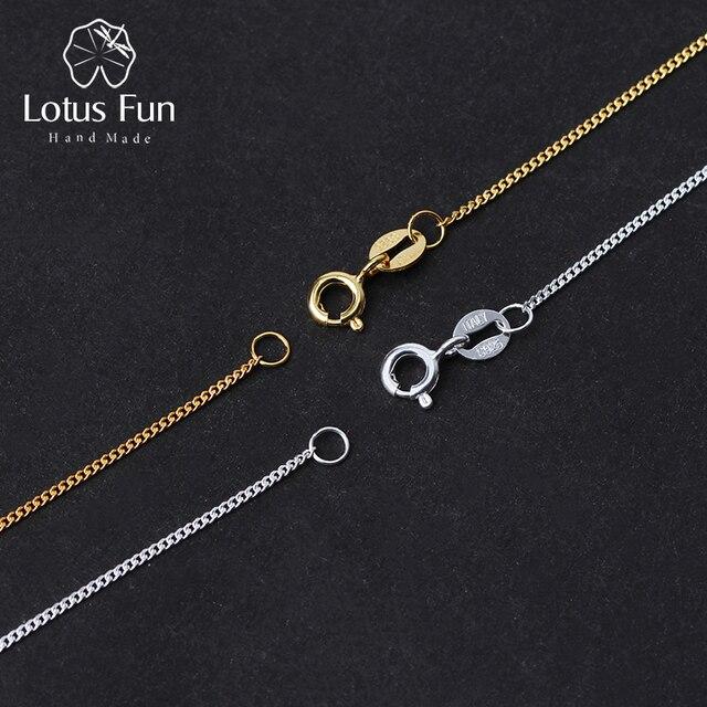 Lotus Real 925 plata esterlina joyería fina hecha a mano clásico fácil encuentro collar de cadena sin colgante para las mujeres Collier