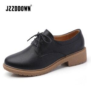 Image 1 - حذاء من الجلد الصناعي للنساء من JZZDDOWN حذاء أكسفورد للنساء برباط علوي حذاء بدون كعب خريفي فاخر للنساء