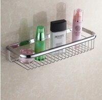 Classic Bathroom Accessories Wall Mounted Strong Brass Fashion Chrome Design Shower Shampoo Shelf Basket Holder 45cm