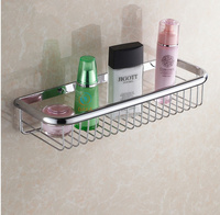 Classic Bathroom Accessories Wall Mounted Strong Brass Fashion Chrome Design Shower Shampoo Shelf Basket Holder 45cm