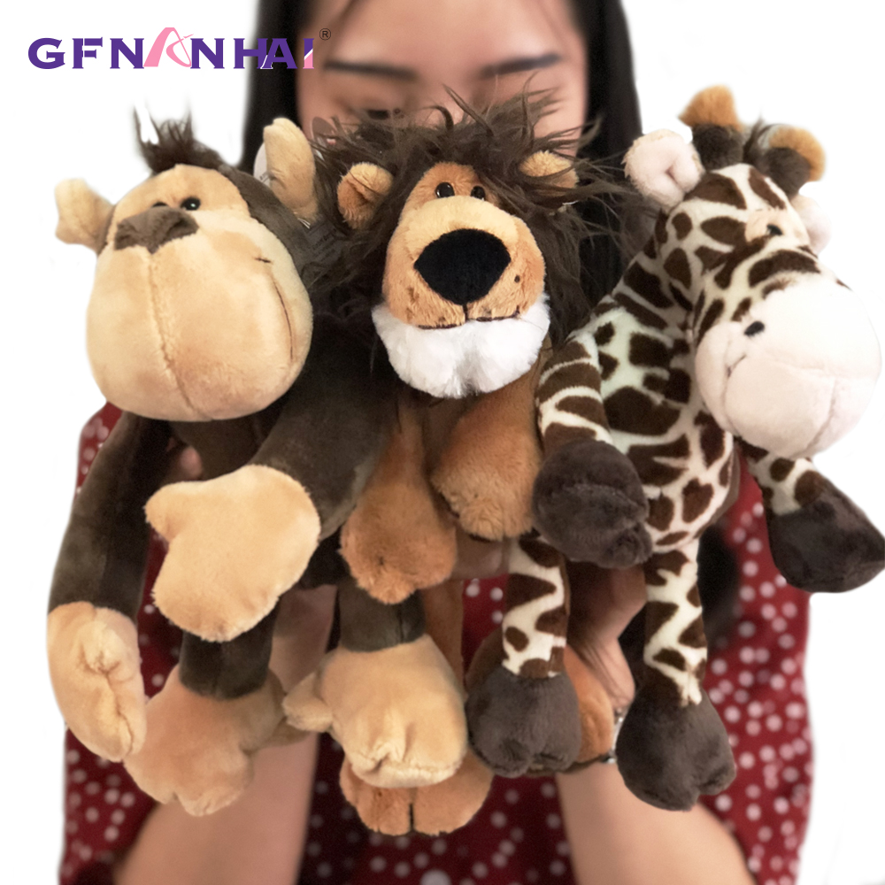 Image 2 - 5pcs/lot 25cm kawaii Forest Animal  Series Plush toy Cute Giraffe Elephant Lion Monkey Zebra Dolls Stuffed Soft toys for KidsStuffed & Plush Animals   -