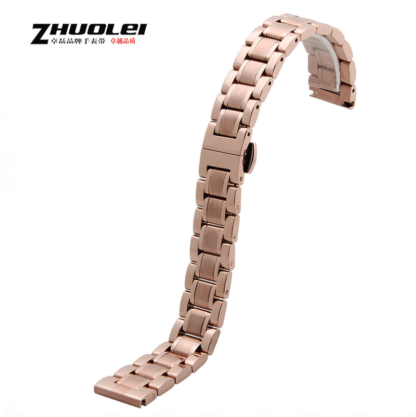14mm 16mm Repalcement Watch Accessories New Rose gold Metal Band Strap Bracelets
